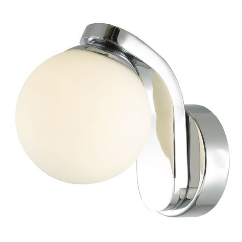 Iker 1 Light Wall Light Polished Chrome Opal Glass Led IP44